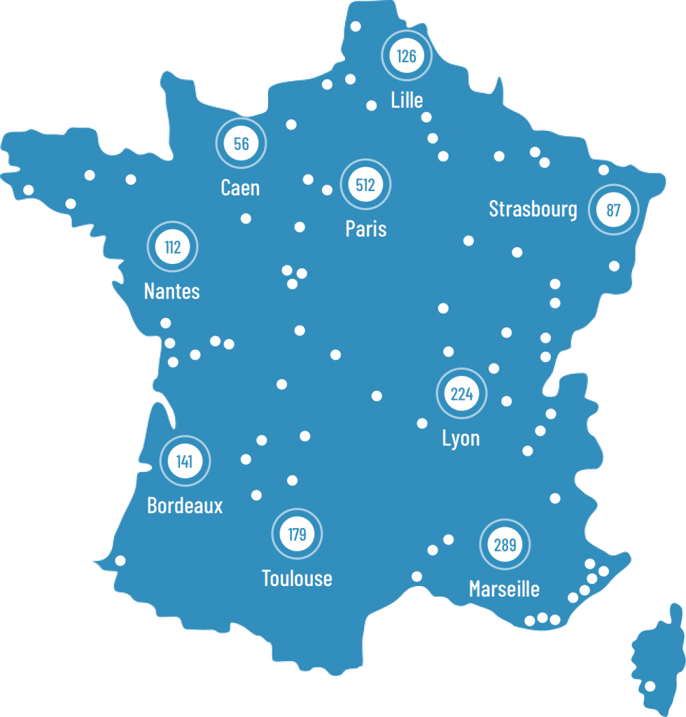 Carte des implantations d'Euro Informatique