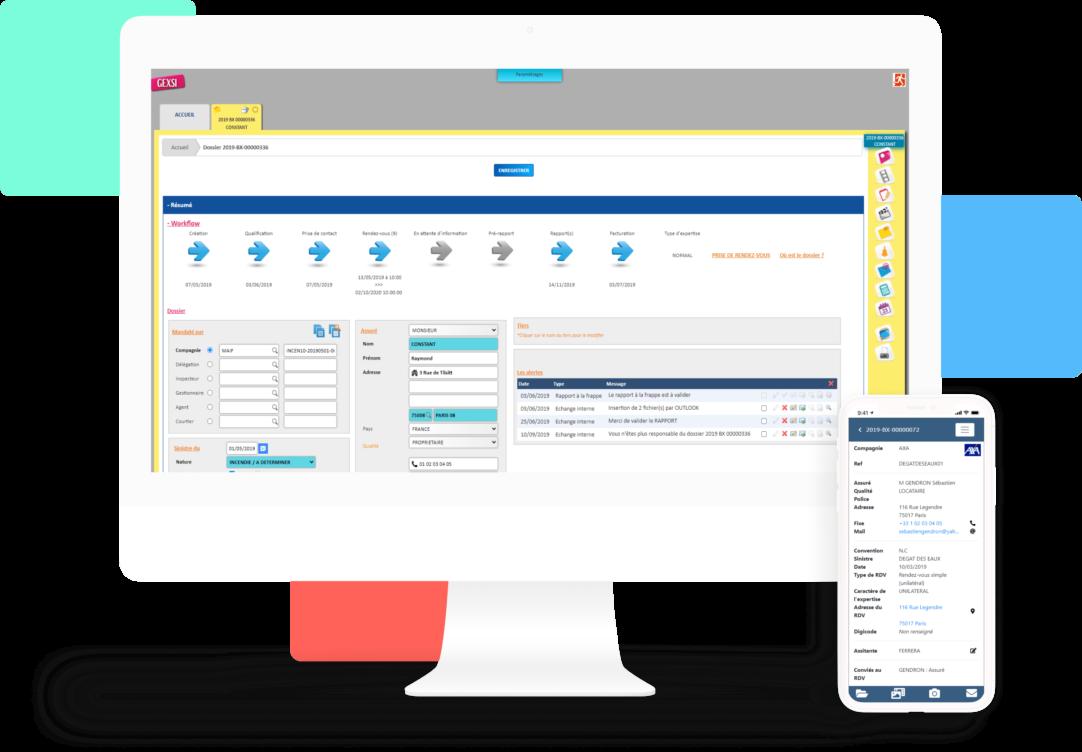 Mockup de GEXSI, logiciel pour les experts en assurance